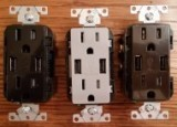 AP-T5632 Receptacles with 2 USB ts 15 amp in brown, black, gray.