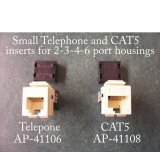 Small Telephone and CAT5 inserts for 2-3-4-6 port GF (Decorator) type housings for switch plates